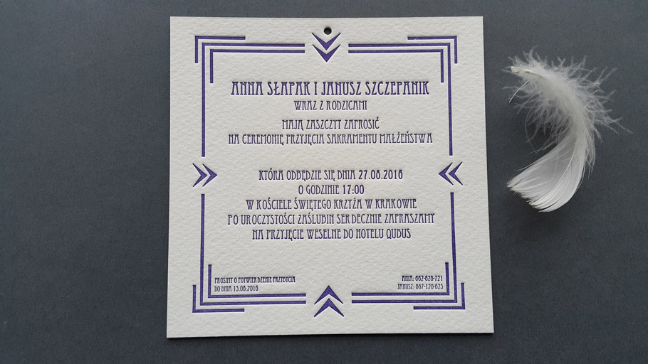 Zaproszenia letterpress TRIPLEX