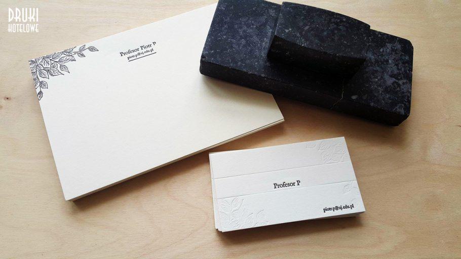 wizytówka i komplmentka letterpress_papier bawełniany_druki hotelowe
